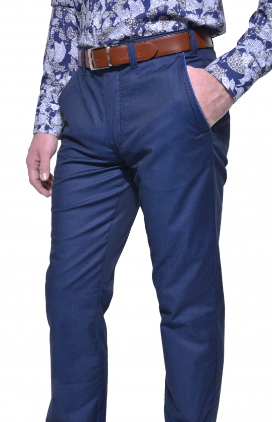 4ee712a3d45 Dark blue casual chinos - Trousers - E-shop