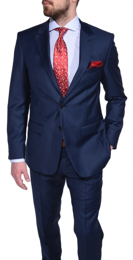 Dark blue Slim Fit checkered suit - Suits - E-shop | alaindelon.co.uk