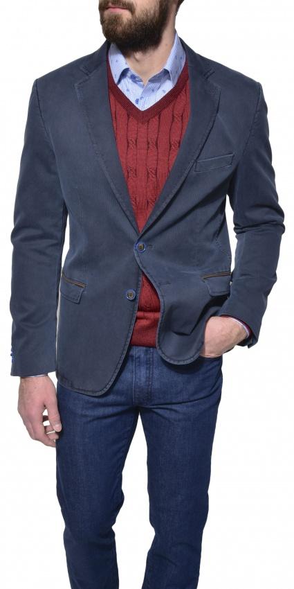 Grey - blue cotton blazer
