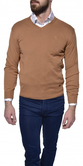 Light brown cotton v-neck