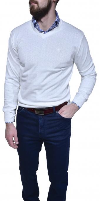 Biely bavlnený pulóver