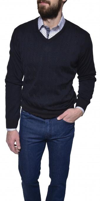 Čierny tkaný pulóver
