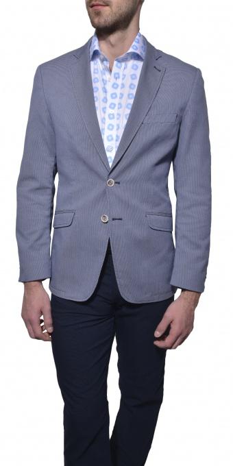 Šedo - modré bavlnené sako