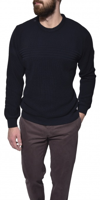 Dark blue casual crewneck