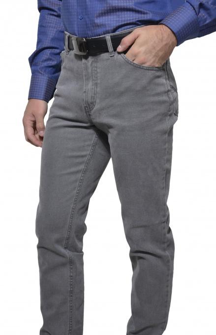 Šedé pätvreckové nohavice