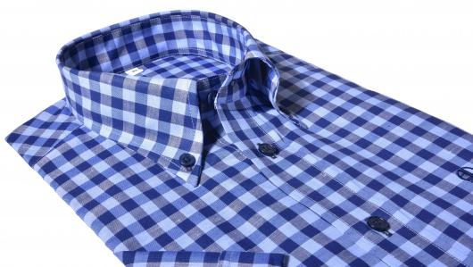 Modrá károvaná Classic Fit košeľa s krátkym rukávom