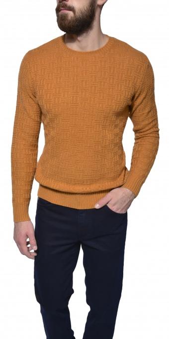 Horčicový tkaný pulóver