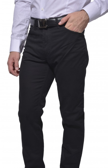 Black casual five pocket trousers