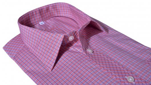 Ružová károvaná Slim Fit košeľa s krátkym rukávom