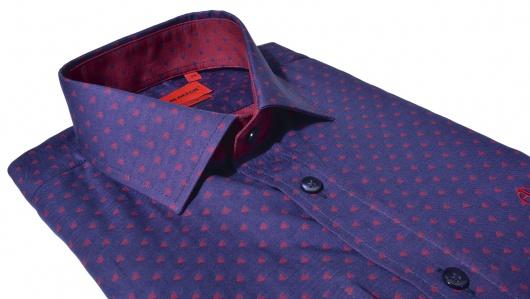 Tmavomodrá vzorovaná Ultra Slim Fit košeľa