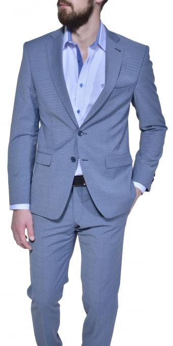 Šedo - modrý Slim Fit oblek
