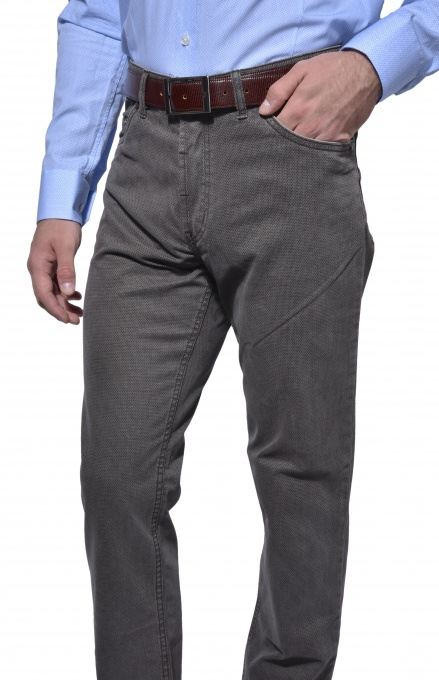 Grey five-pocket trousers