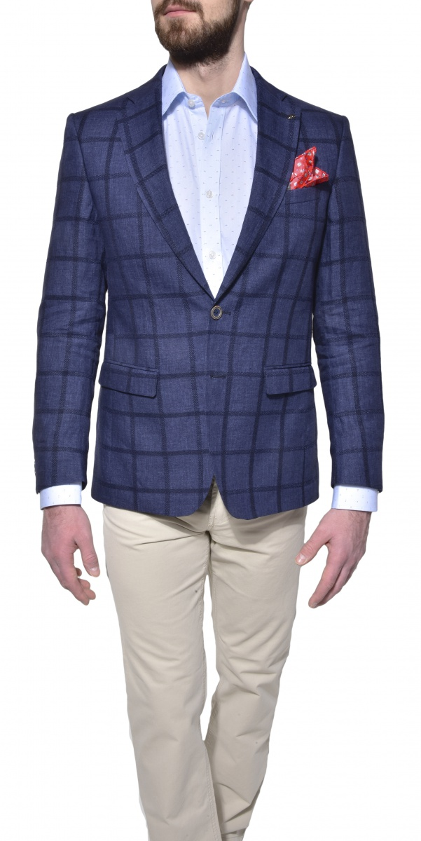 Blue checkered linen blazer