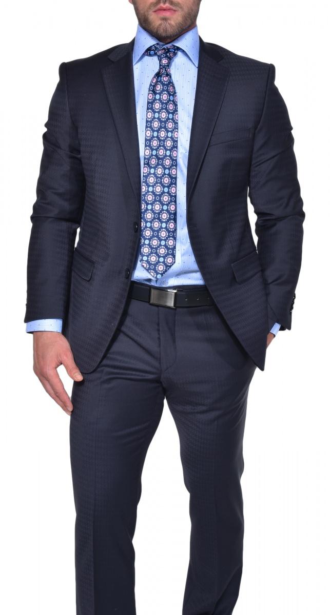 Modrý Slim Fit štrukturovaný oblek