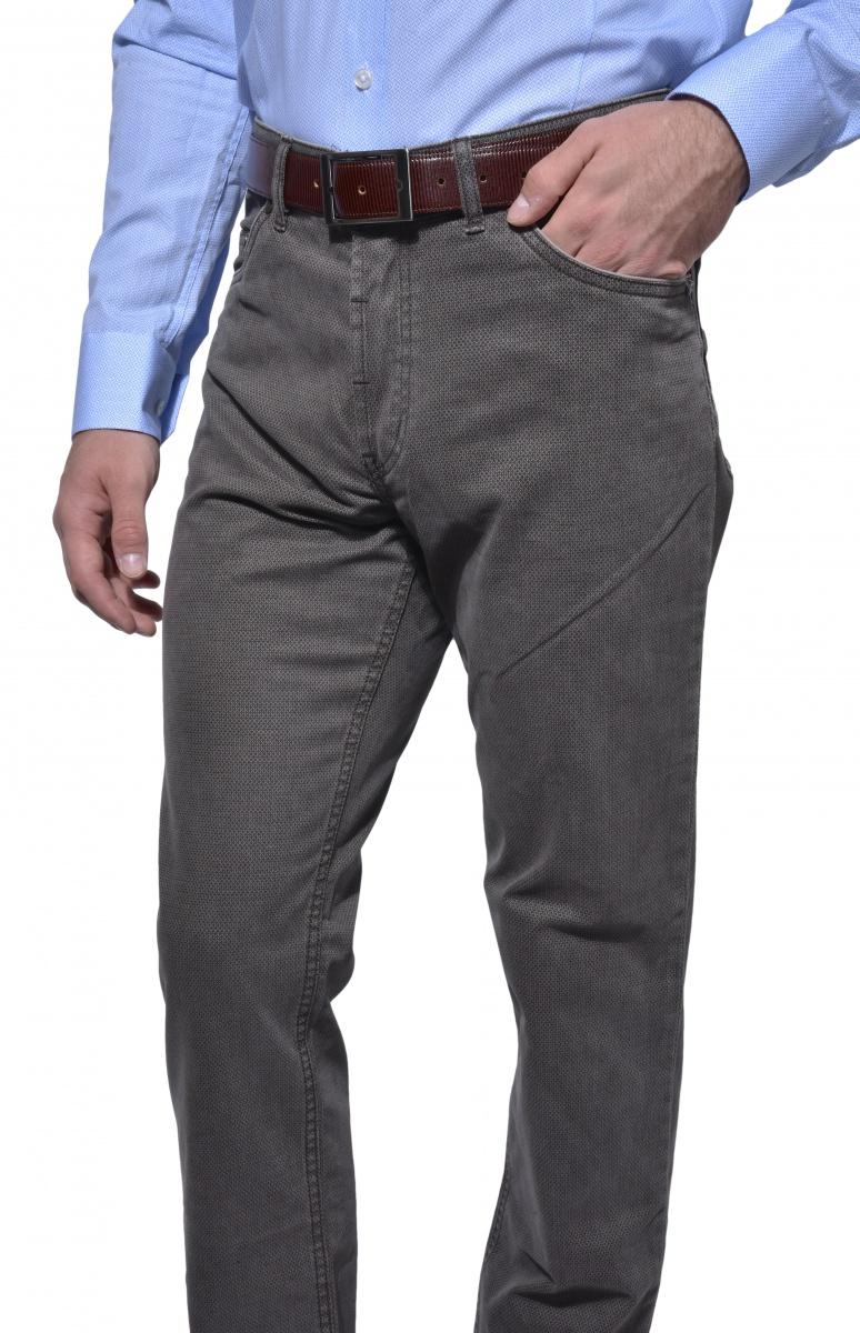 Šedé päťvreckové nohavice