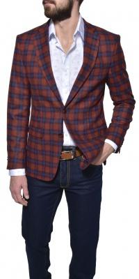 Red checkered wool blazer