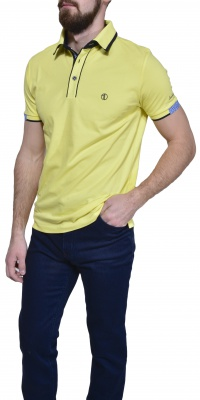 Yellow piqué polo shirt