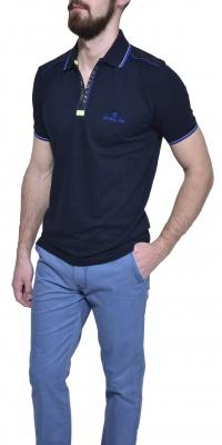 Dark blue piqué polo shirt