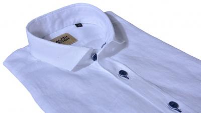 Biela ľanová Slim Fit košeľa s krátkym rukávom