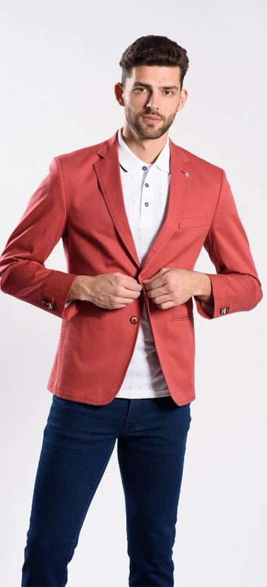 Červené bavlnené sako