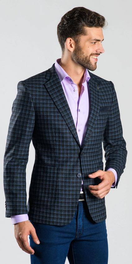 Čierno-modré kárované sako
