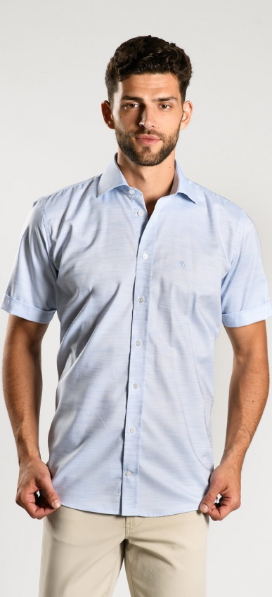Bledomodrá Slim Fit košeľa s krátkym rukávom