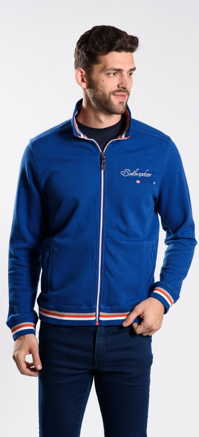 Modrý výplnkový sveter