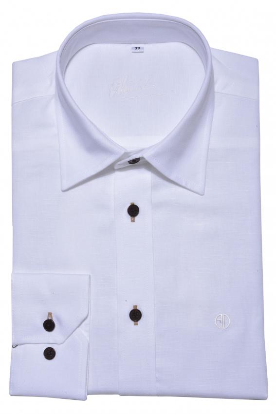 Biela Slim Fit ľanová košeľa