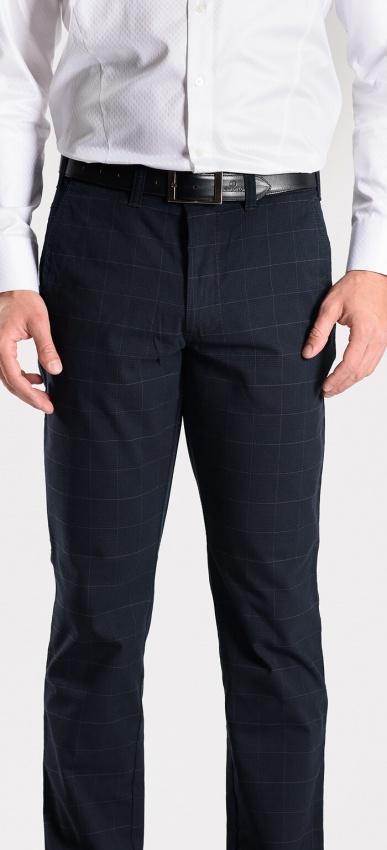 Tmavmodré kárované nohavice