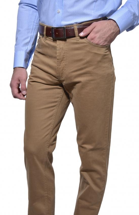 Hnedé päťvreckové nohavice