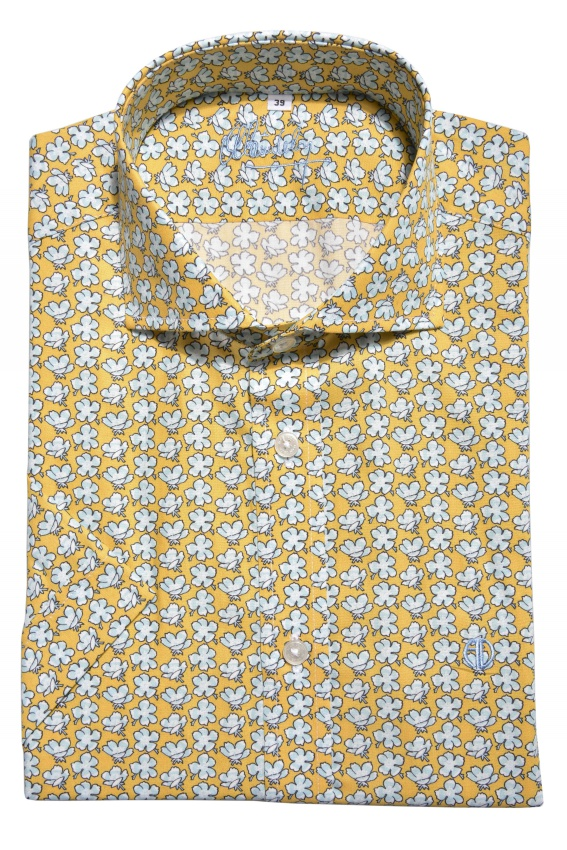 Yellow patterned Extra Slim Fit short sleeved shirt