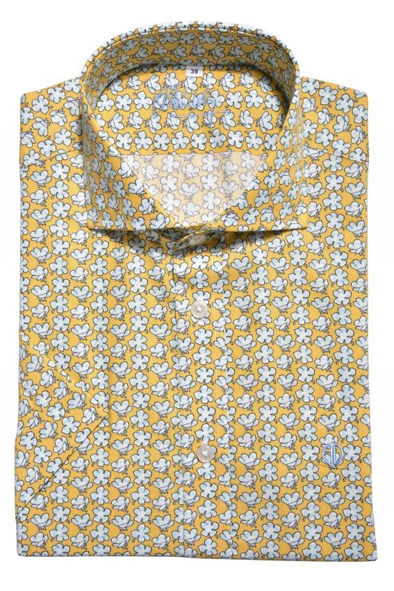 Žltá vzorovaná Extra Slim Fit košeľa s krátkym rukávom