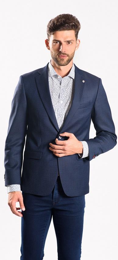 Modré vlnené sako rady Basic