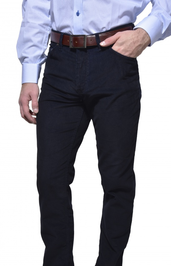 Tmavomodré manchestrové nohavice