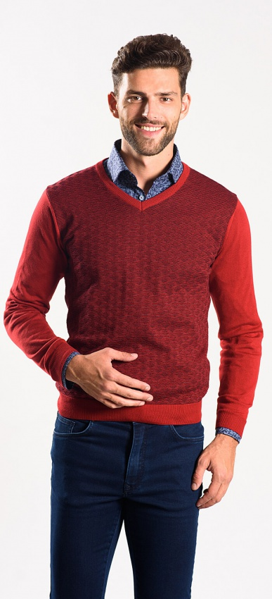 Burgundy cotton v-neck