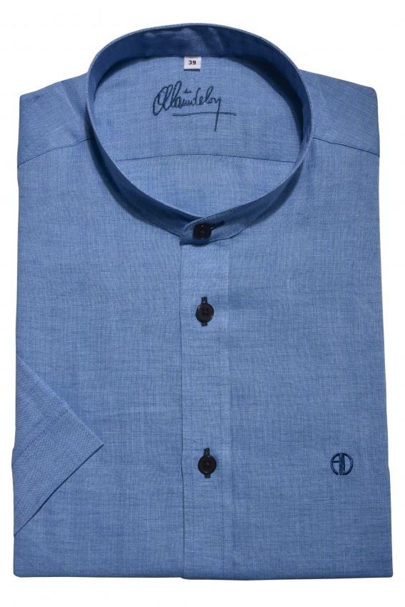 Blue linen Extra Slim Fit short sleeved shirt