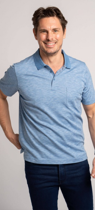 Blue cotton polo