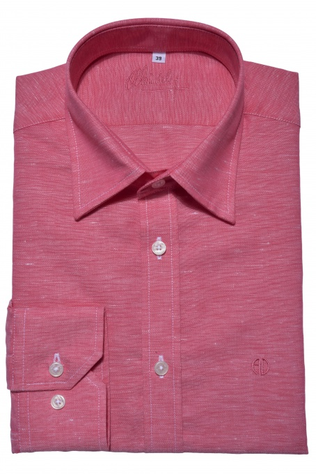 Dark pink Extra Slim Fit linen shirt