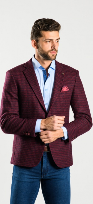 Burgundy patterned blazer