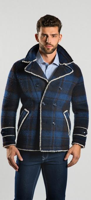 Károvaný dvojradový kabát