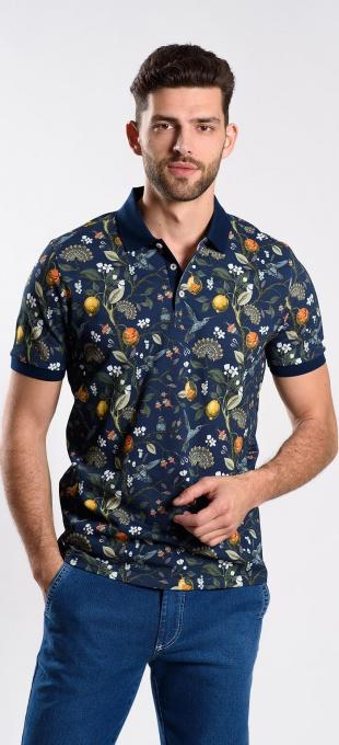 Bold patterned polo shirt