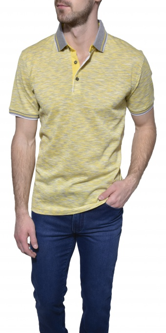 Yellow patterned polo shirt