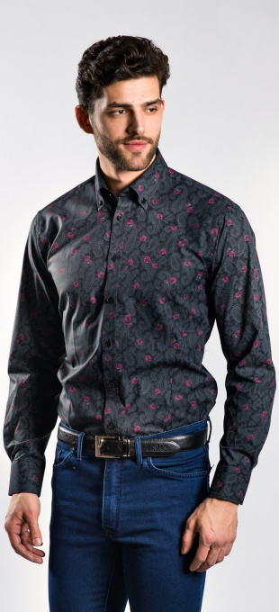 Black Extra Slim Fit printed shirt