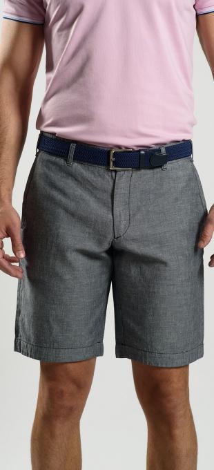 Šedé ľanové krátke nohavice