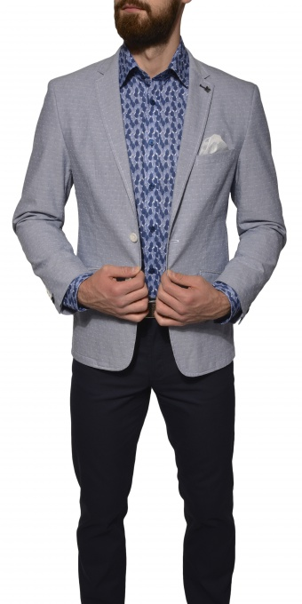 Bledomodré bavlnené Basic sako