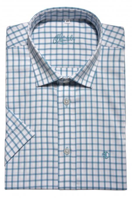 Károvaná Slim Fit košeľa s krátkym rukávom