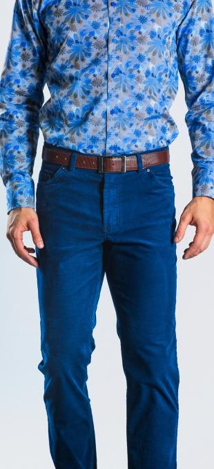 Modré Basic päťvreckové nohavice