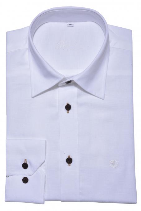 White Slim Fit linen shirt