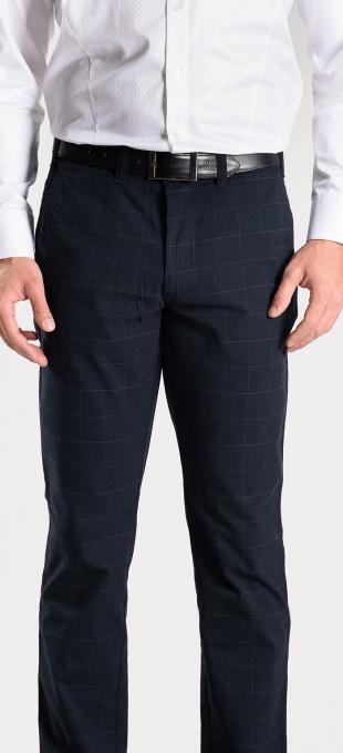 Tmavomodré kárované nohavice