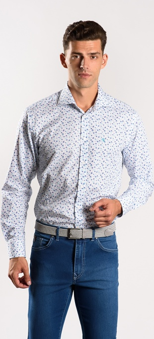White Extra Slim Fit patterned shirt